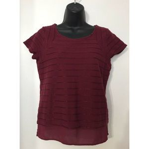 The Limited Burgundy Cap Sleeve Top Blouse Sz XS